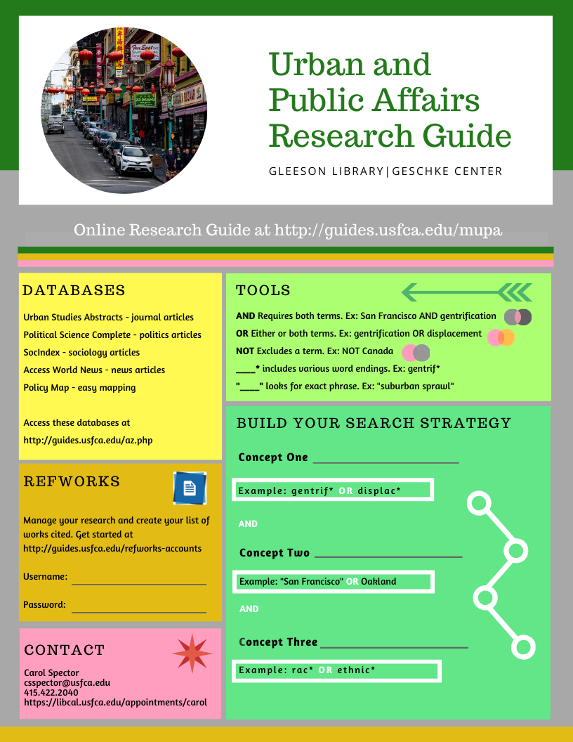 handout for Urban and Public Affairs describing online resources