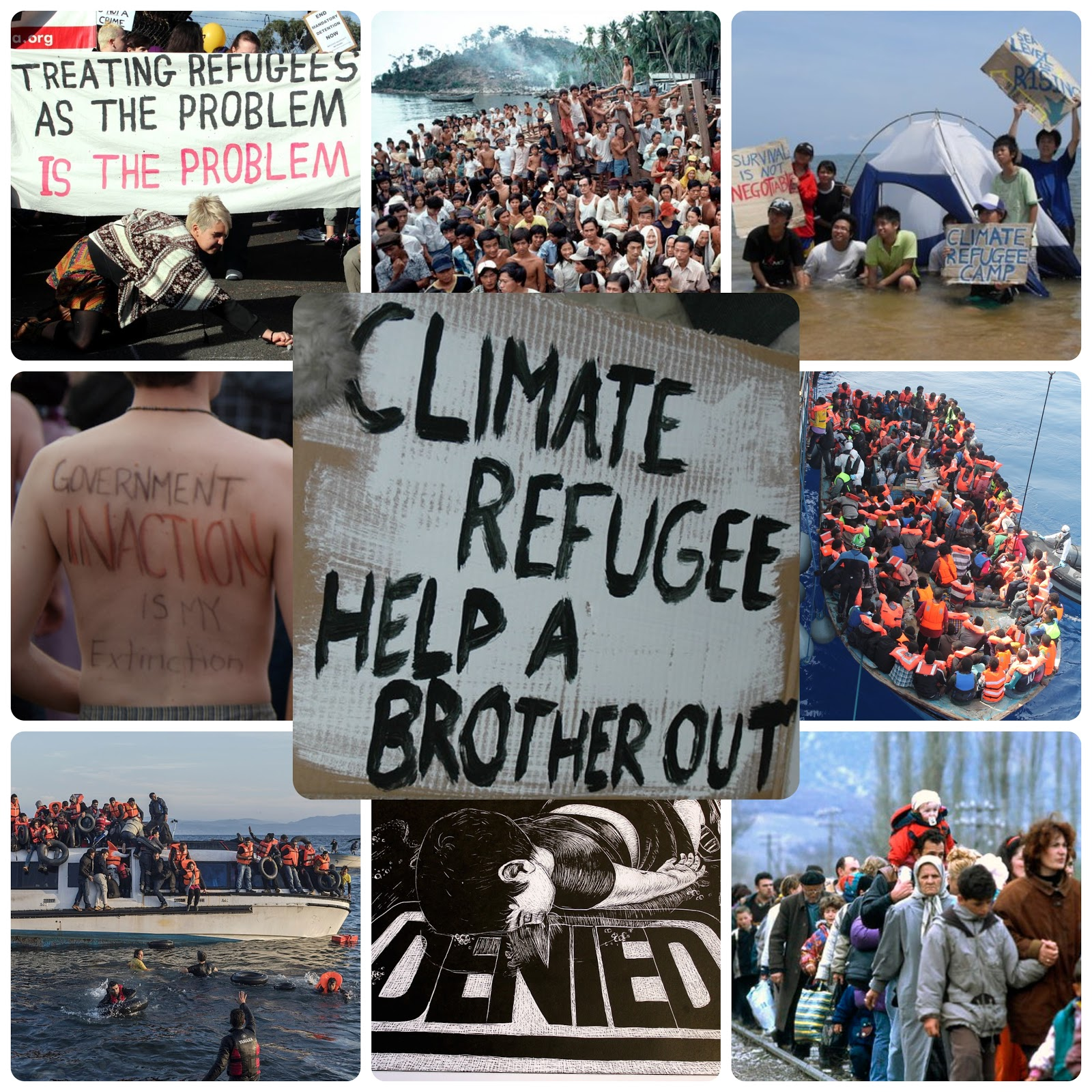 Collage on climate change and its negative impact on various climate refugees.