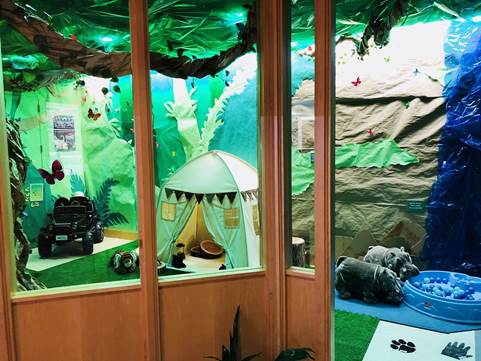 Jungle with paper scenery and tent