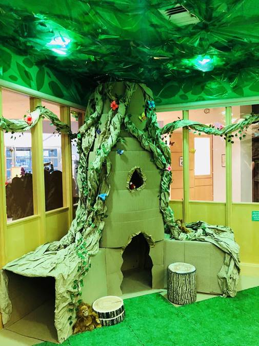 Jungle with cardboard and paper tree and tent