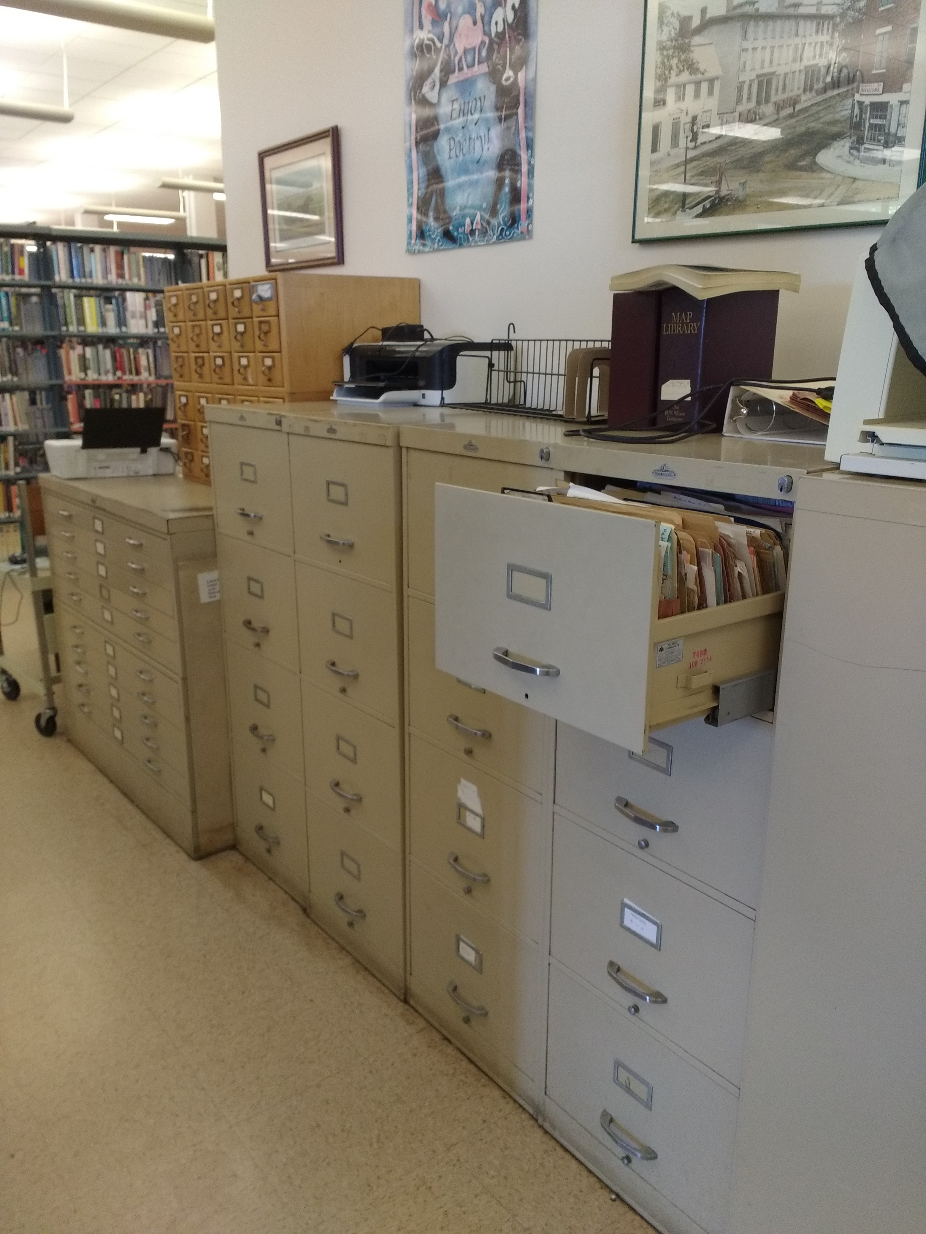 wall of file cabinets