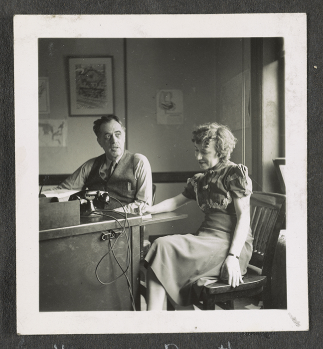 The Federal Writers' Project had units stationed all around the country but was headquartered in Washington, D.C. Here, Director Henry Alsberg sits with writer Dorothea Hettwer at project headquarters.