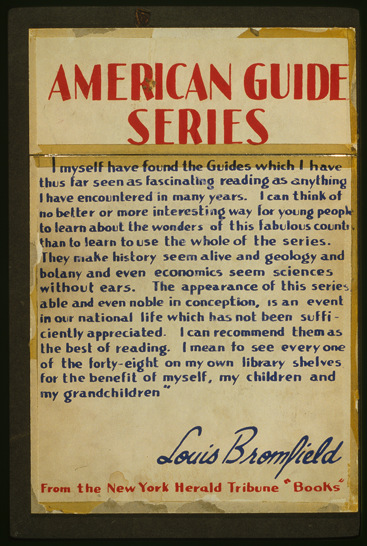 Poster for the guide book series featuring a laudatory quote from Louis Bromfield's review in the New York Herald Tribune.