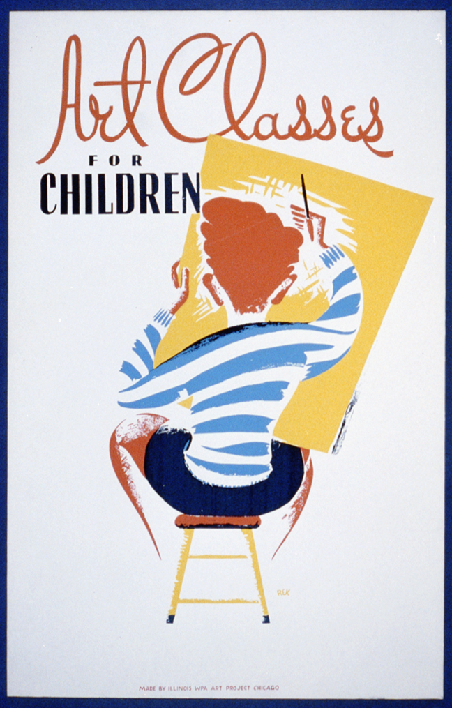 Poster showing a child drawing.