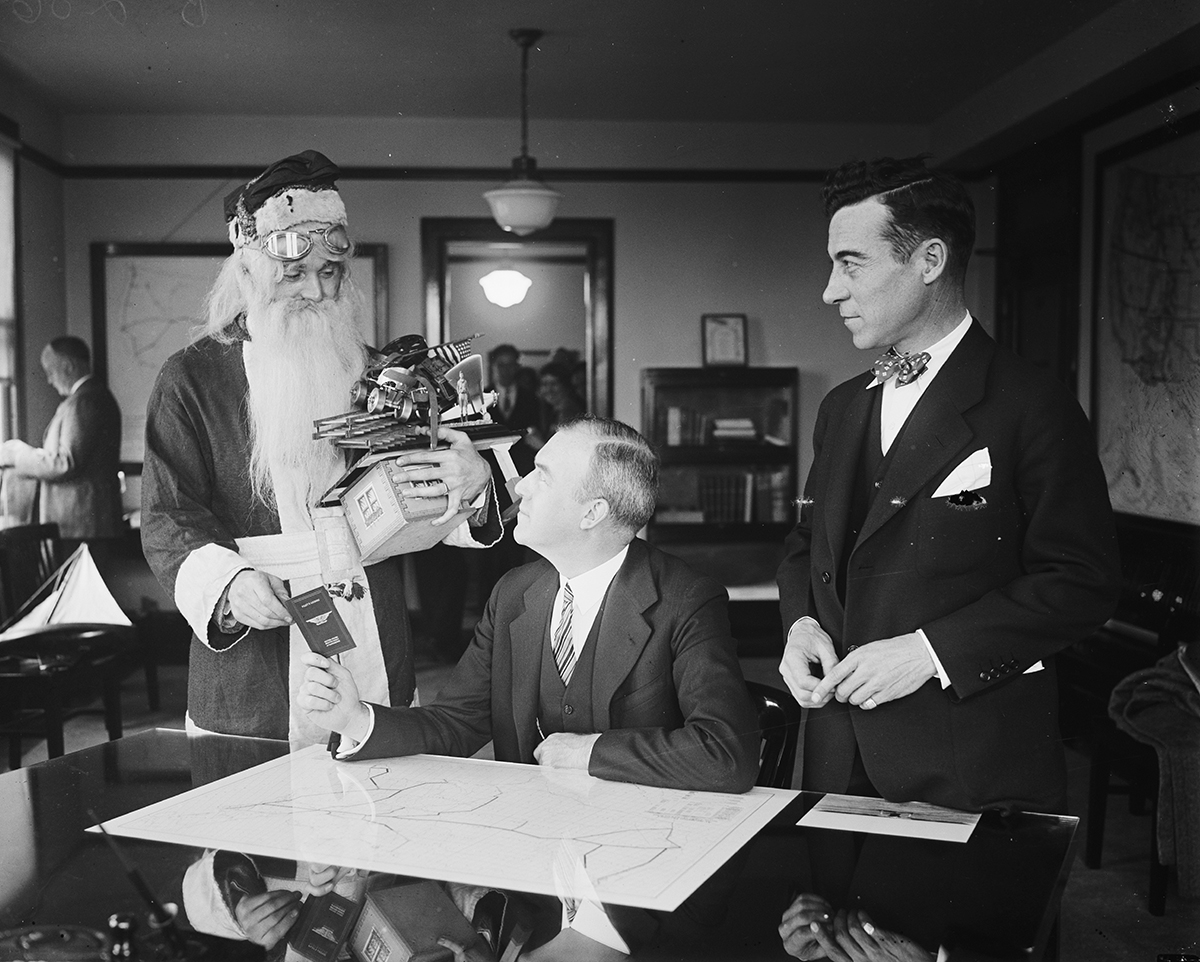 Department of Commerce awarded Santa Claus with a pilot's license