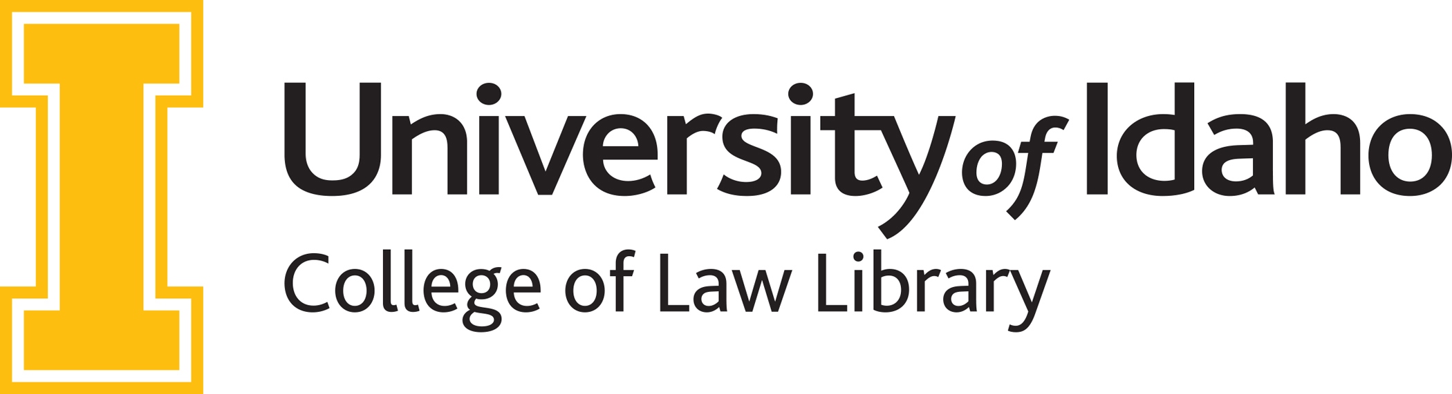 college of law library logo with gold I