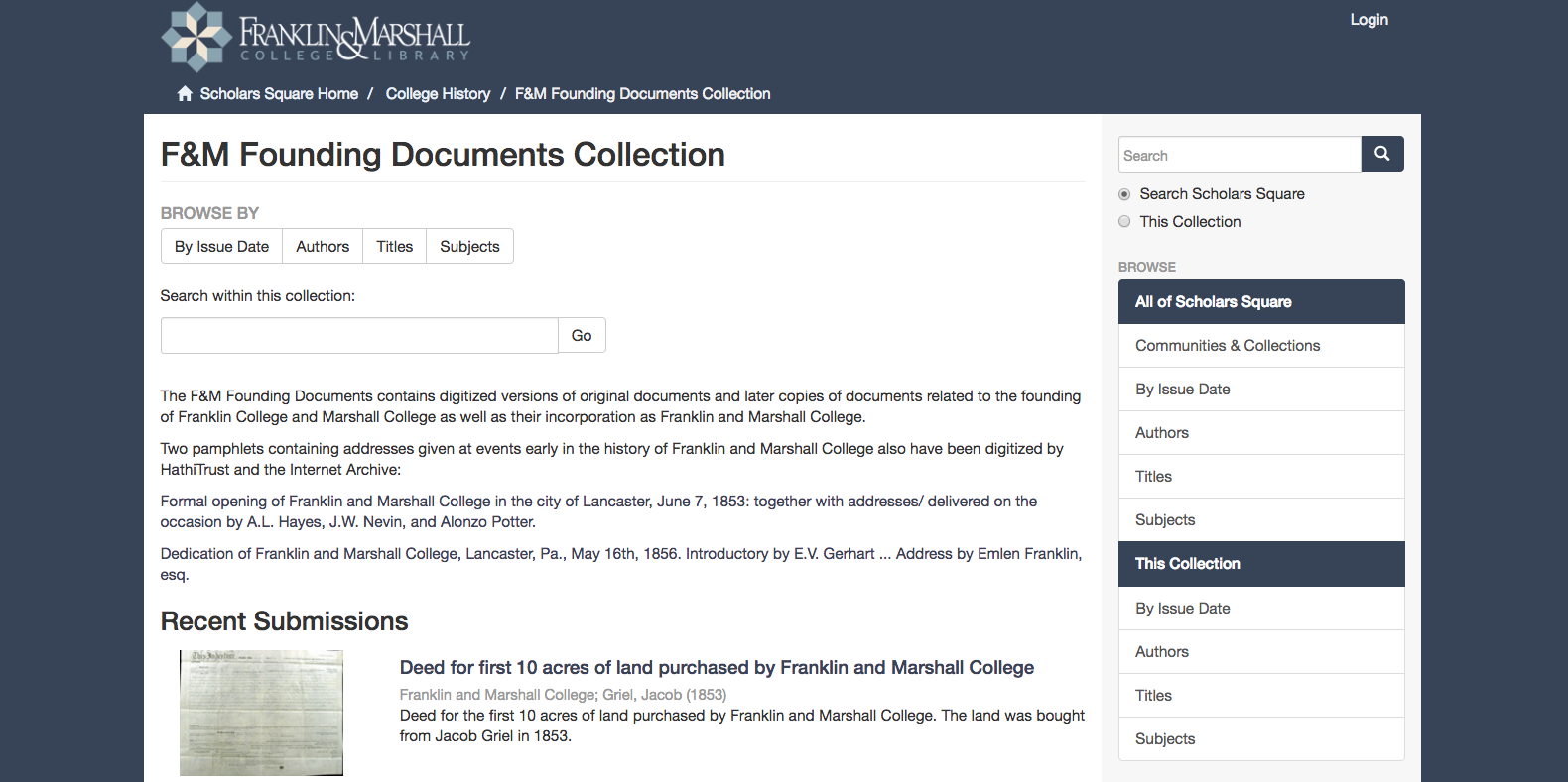 Screen shot of the F&M Founding Documents Collection homepage showing the browse options and search bar