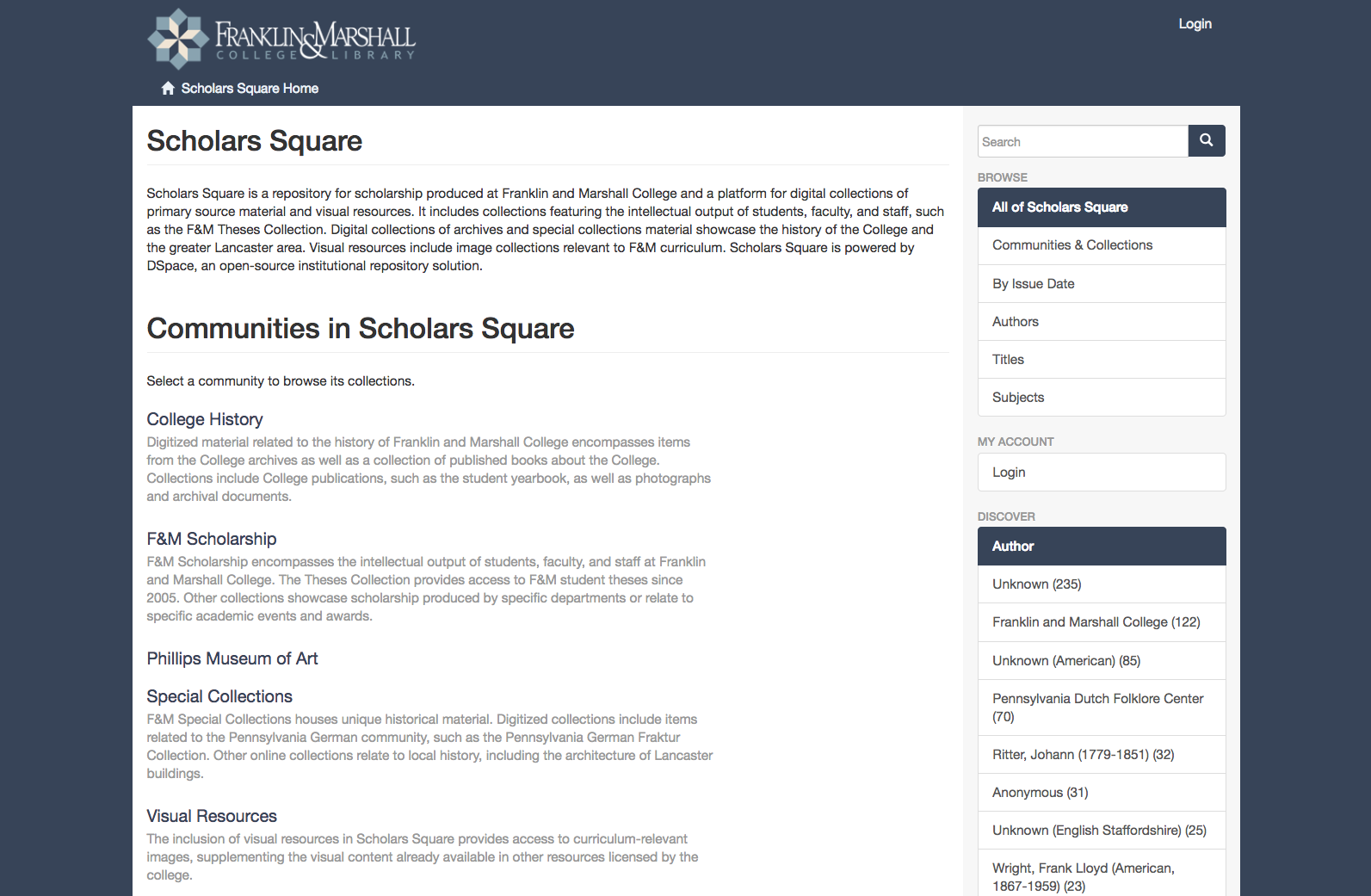 Screen shot of the Scholars Square homepage, showing the list of Communities in Scholars Square: College History, F&M Scholarship, Special Collections, and Visual Resources