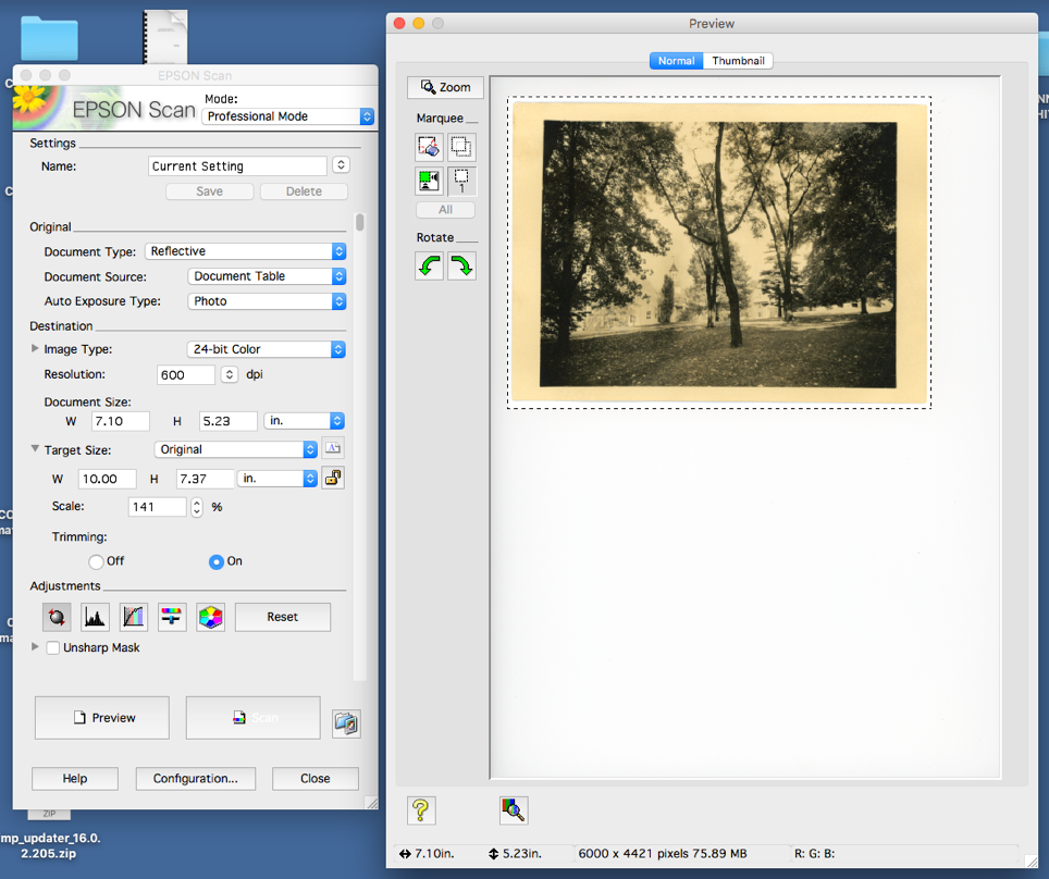 Window with scan settings and image preview