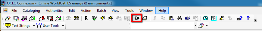 Image of where to find the export icon in OCLC Connexion Client desktop version.