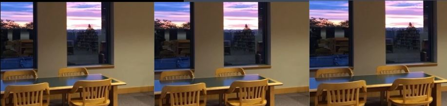 Seats in the library by the windows