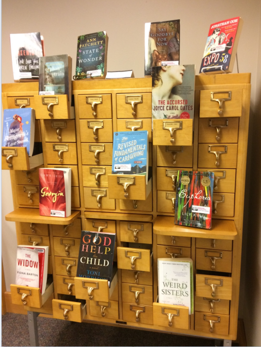 Photo of books displayed on card catalog