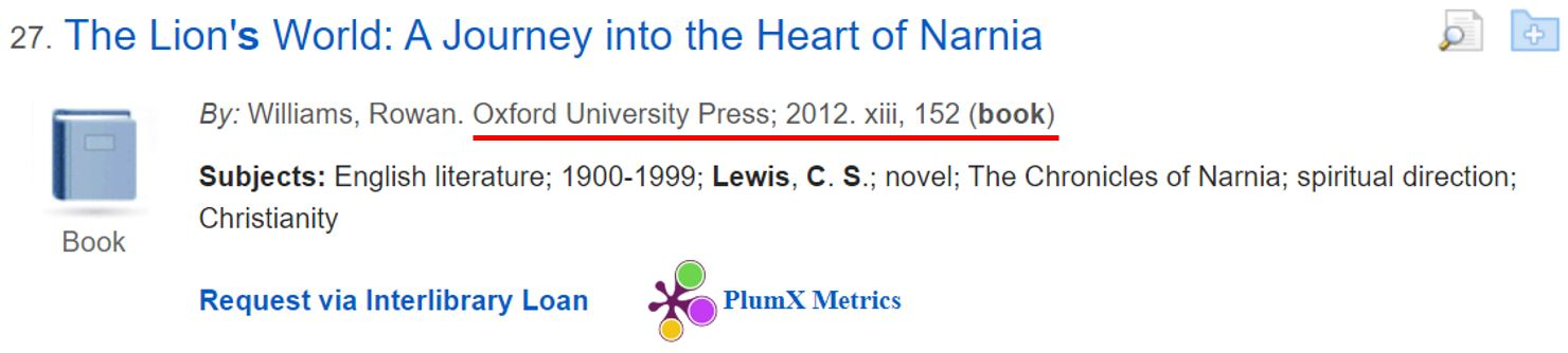 Screenshot of a book record from a database search with citation information highlighted.