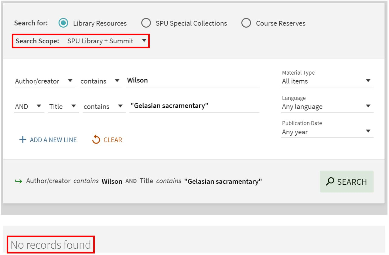 "Screenshot of SPU library discovery system with dropdown highlighted and an error message saying ""no records found."""