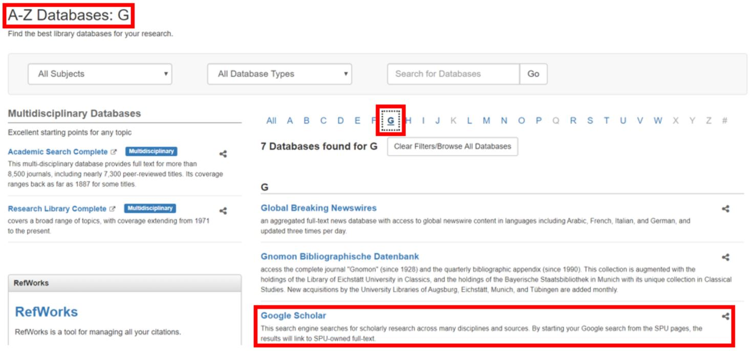 Screenshot of Google Scholar link highlighted on SPU's A-Z Databases page.