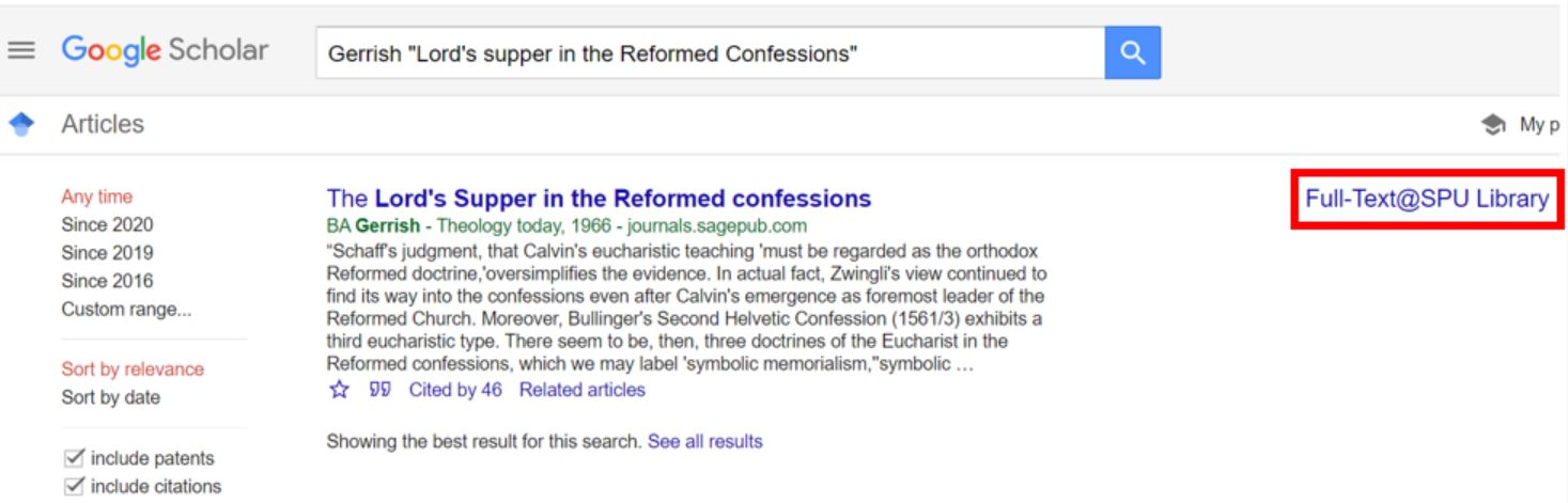 Screenshot of Google Scholar results list with Full-Text @ SPU Library link highlighted.