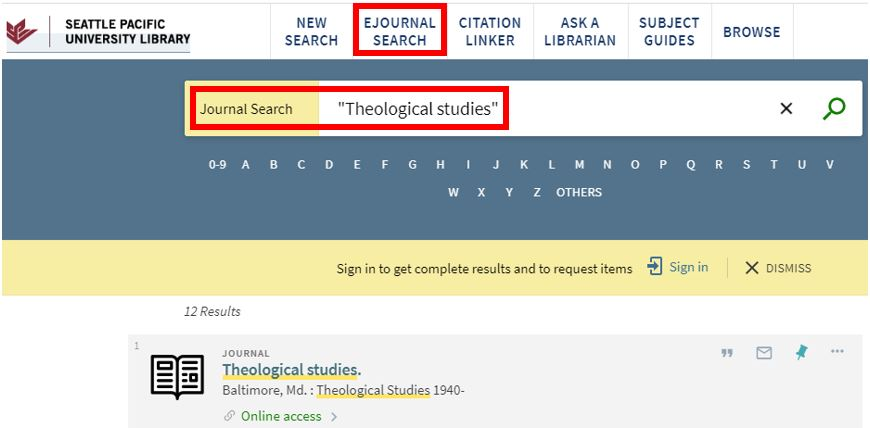Screenshot of SPU library e-journal search page with items highlighted, example search text, and results list with online access link.
