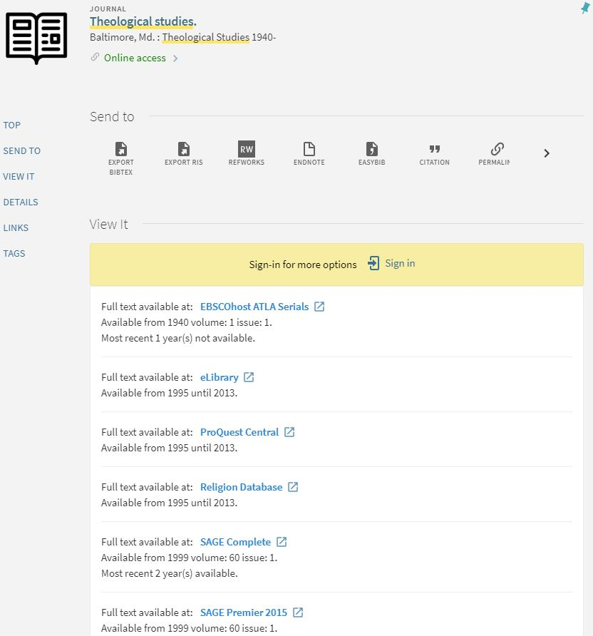 Screenshot of a journal's page in the SPU discovery system including journal information and list of holding databases with dates of coverage.