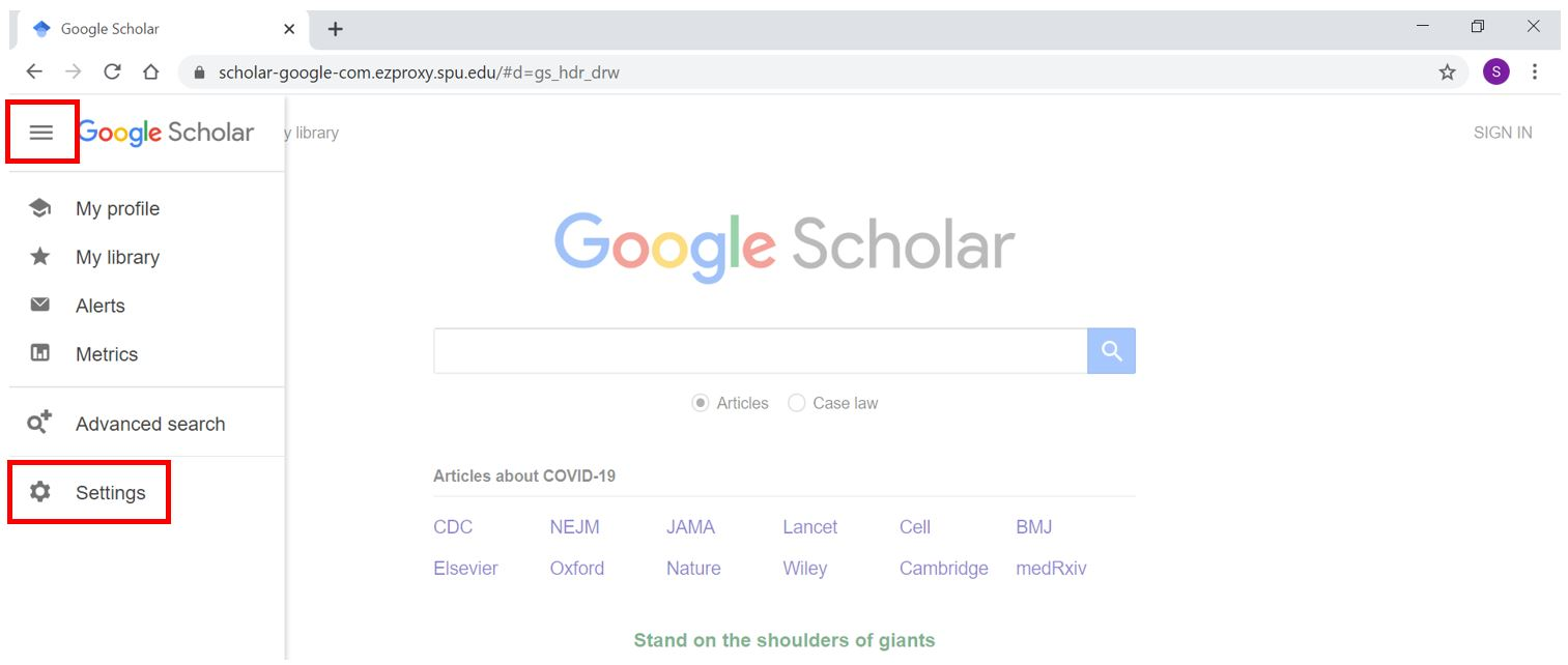 Screenshot of Google Scholar with three lines icon and settings link highlighted.