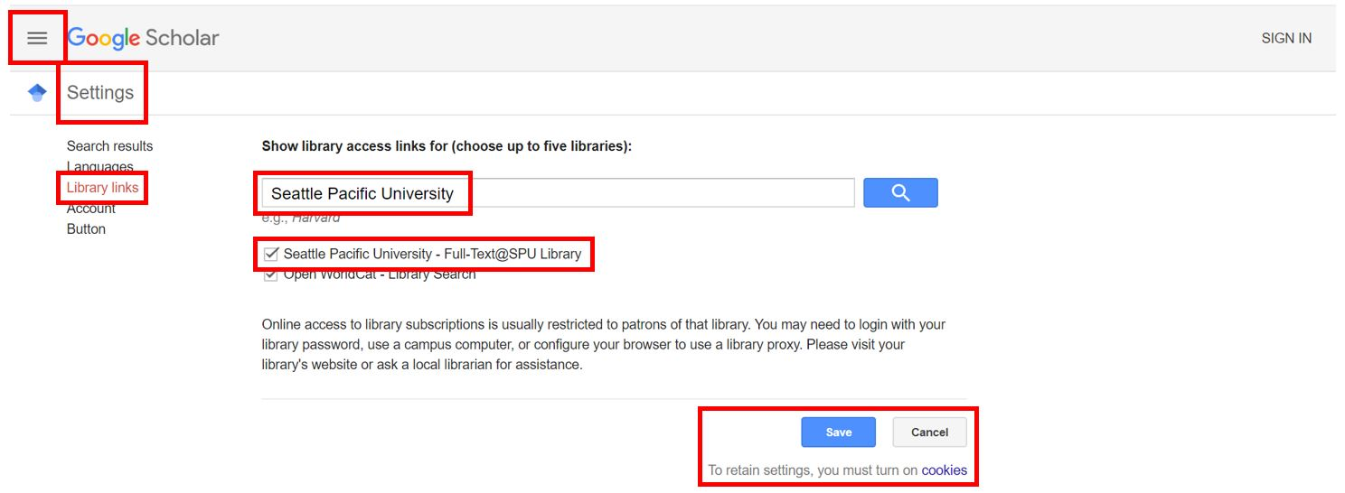 Screenshot of Google Scholar settings screen showing SPU as selected library for access links.
