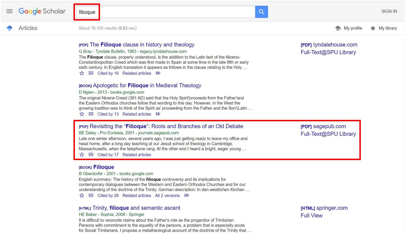 "Google Scholar screenshot for a search on the term ""filioque"" including results list and Full-Text @ SPU links"