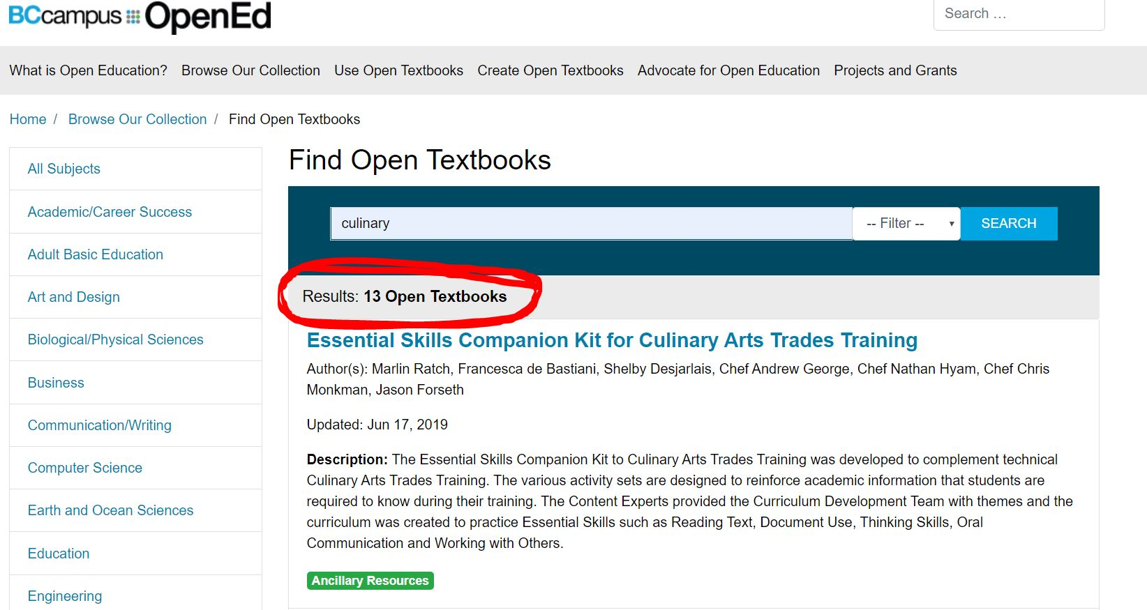 image of an OER Textbook search