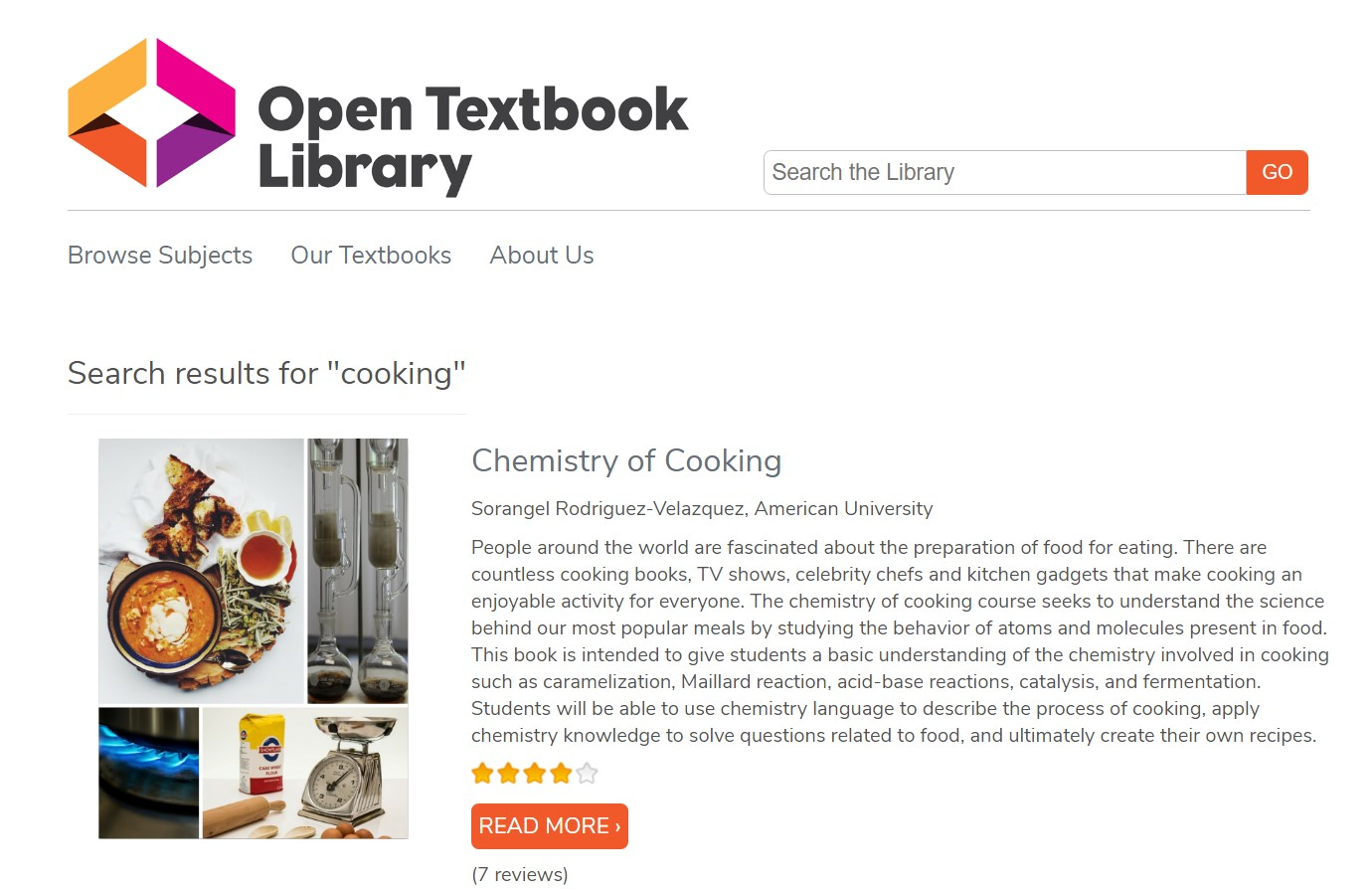Image of an OER cooking textbook