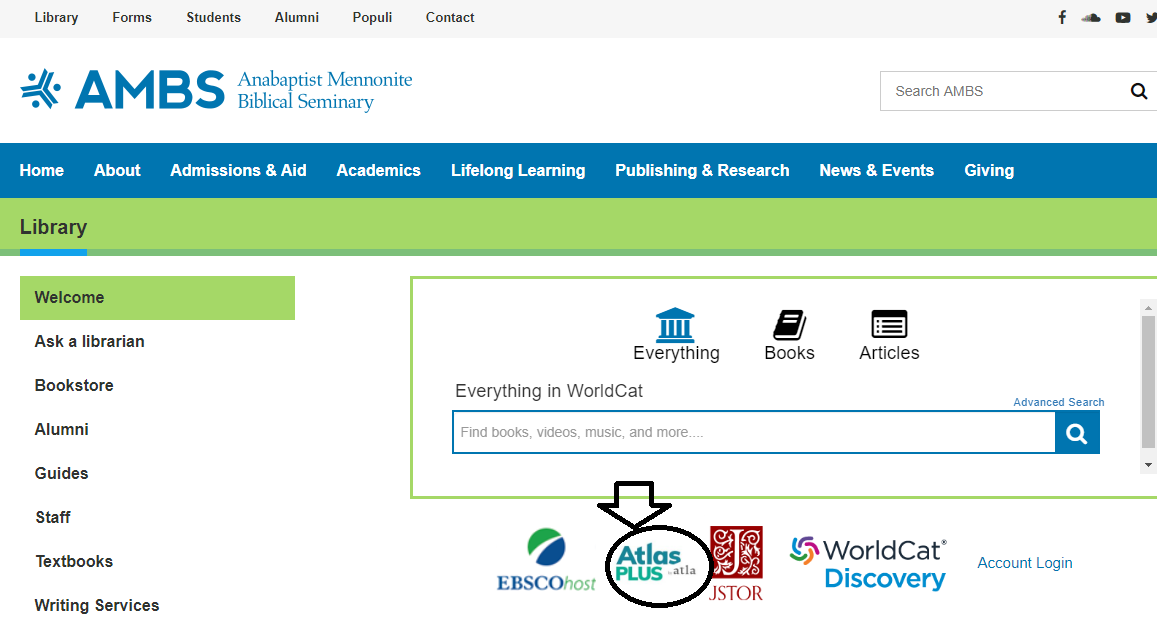 showing link to Atlas Plus on library home page