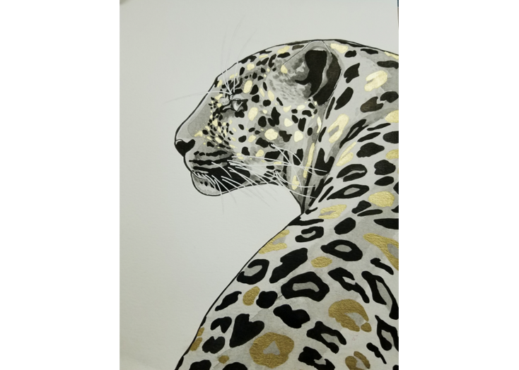 Barriere - Jaguar in Ink and Gold Paint
