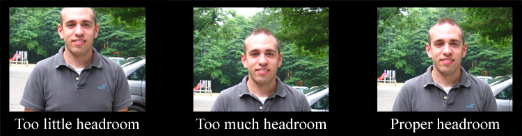 Example of headroom in videography