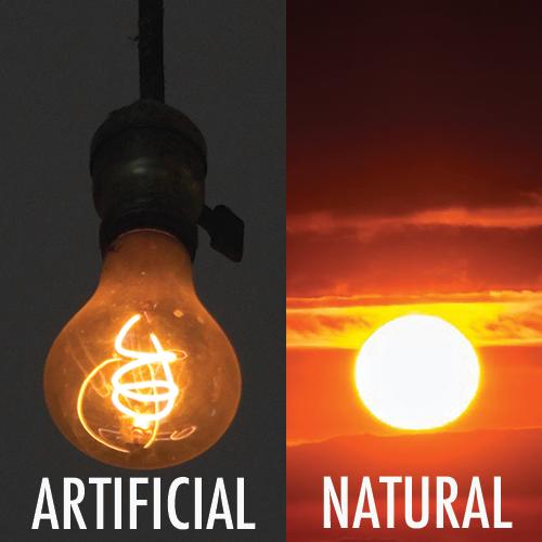 Natural vs. artificial light example