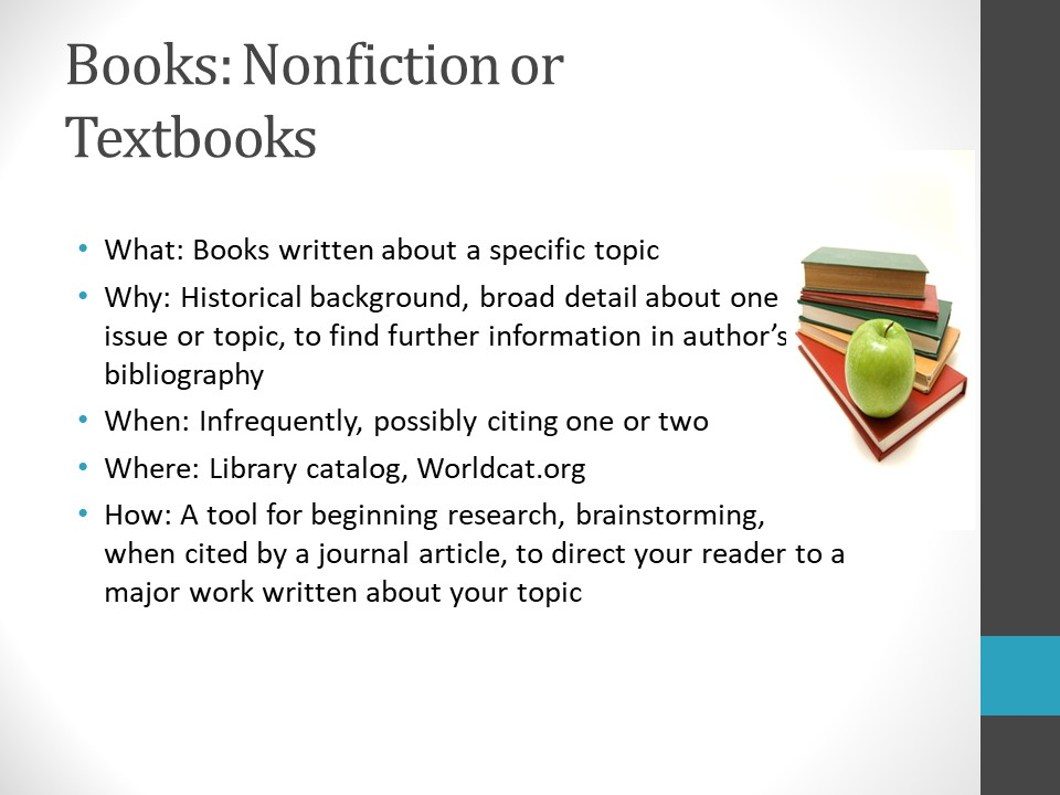 Image of PowerPoint slide. Title: Books: Nonfiction or Textbooks. Examples – What: Books written about a specific topic. Why: Historical background, broad detail about one issue or topic, to find further information in author's bibliography. When: Infrequently, possibly citing one or two. Where: Library catalog, Worldcat.org. How: A tool for beginning research, brainstorming, when cited by a journal article, to direct your reader to a major work about your topic.