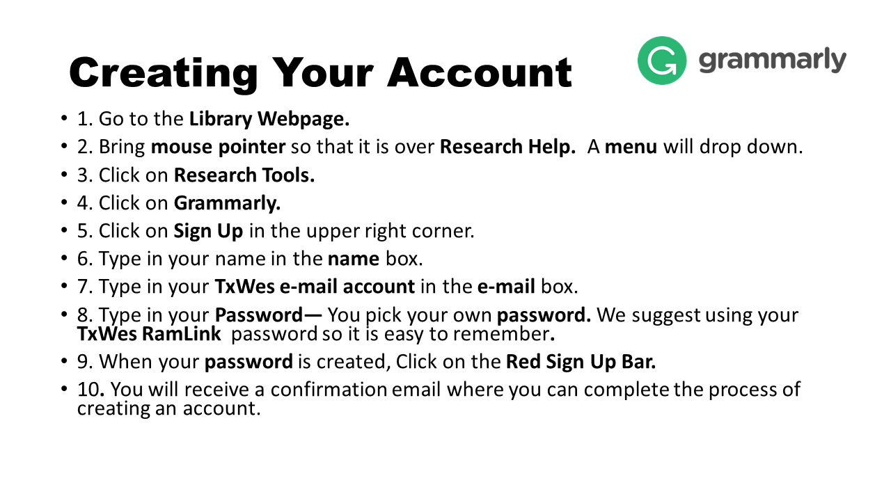 Image with the steps of how to create a Grammarly account.