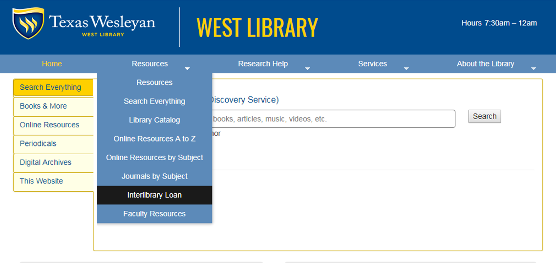Screen capture of the steps to find the Interlibrary loan webpage.