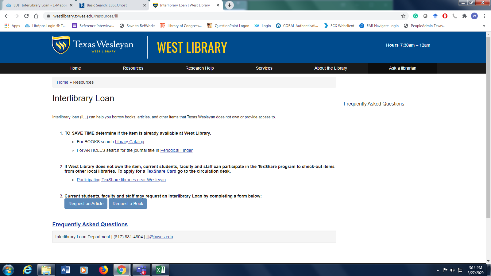 Screen capture of the Interlibrary Loan webpage.
