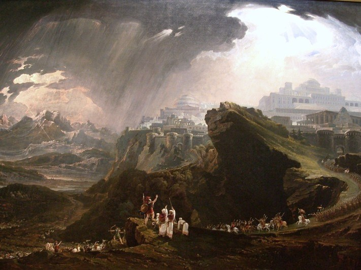 Image: Painting Title: Joshua Commanding the Sun to Stand Still upon Gideon, by John Martin (1816)