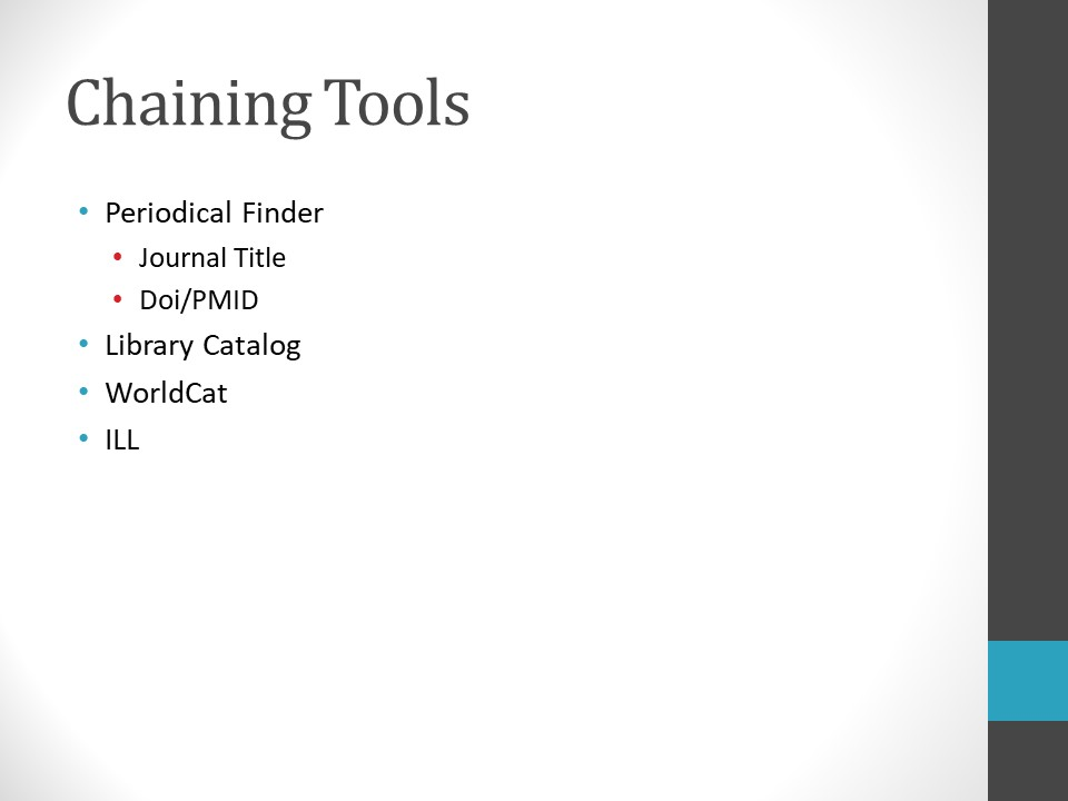 Image of PowerPoint slide. Title: Chaining Tools. Periodical Finder (Example: Journal Title, Doi/PMID), Library Catalog, WorldCat, Interlibrary loan