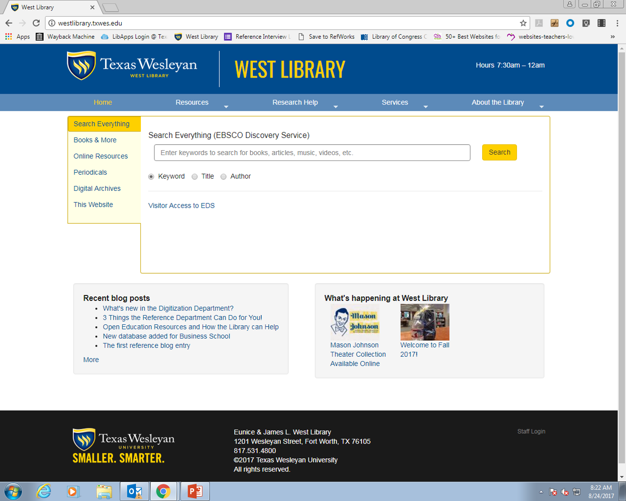 Image: Texas Wesleyan West Library webpage showing Search Everything (EBSCO Discovery Service) search bar.