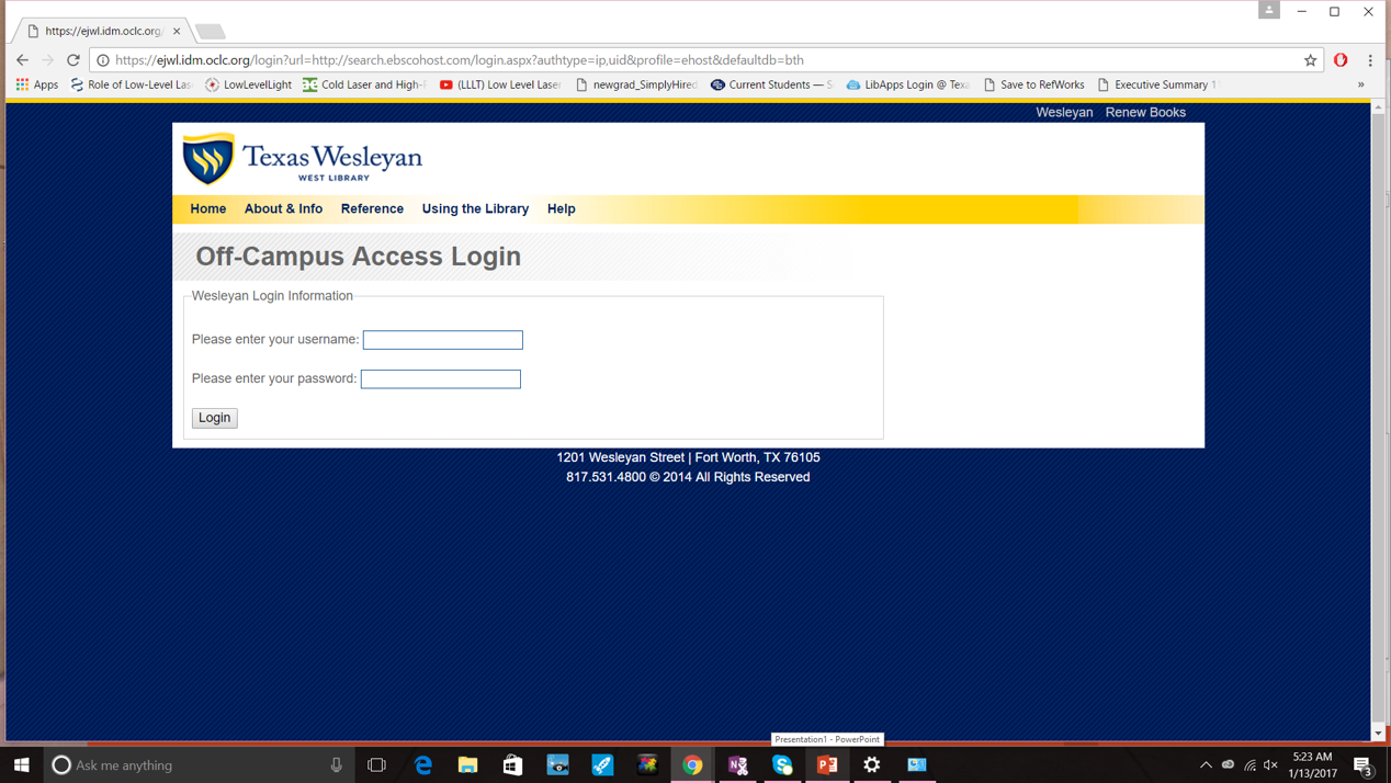 images of the off-campus login to databases webpage