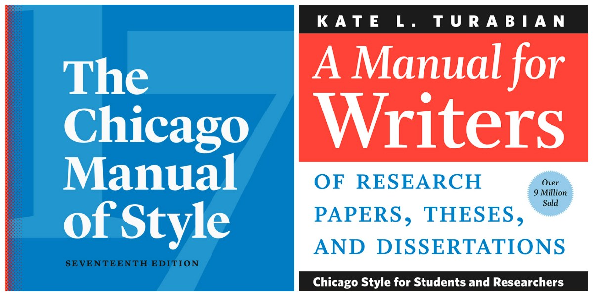Chicago Manual of Style and A Manual for Writers book covers