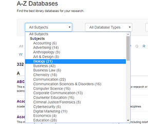"""All Subjects"" dropdown menu with subjects showing"