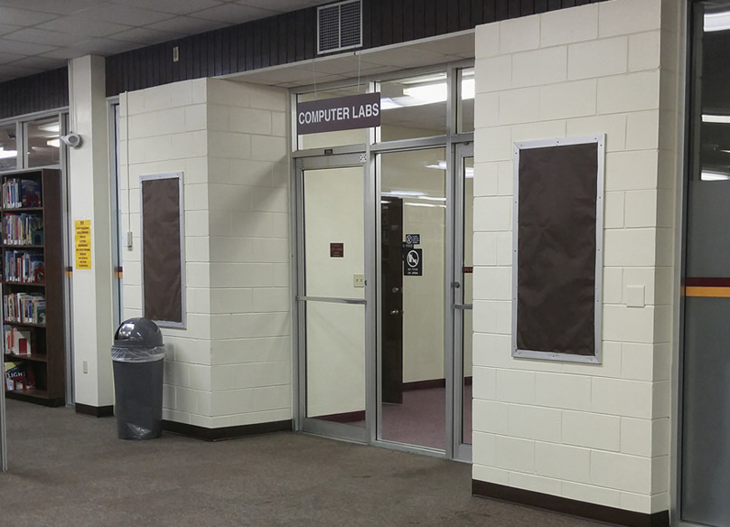 Entrance to dedicated Library Instruction  Lab, the Bethune Room and the Faculty/Staff training Lab