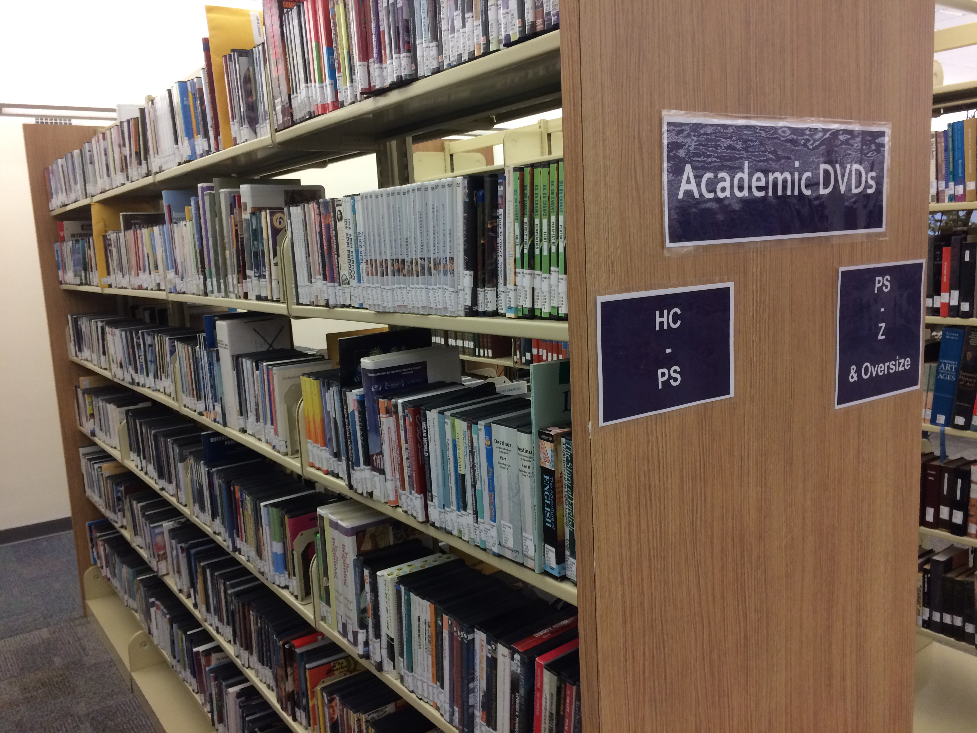 Academic DVD Collection Shelves on the 2nd floor of Andersen Library