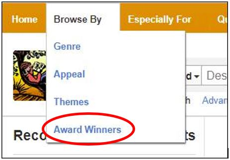 novelist browse-by menu with dropdown for award winners