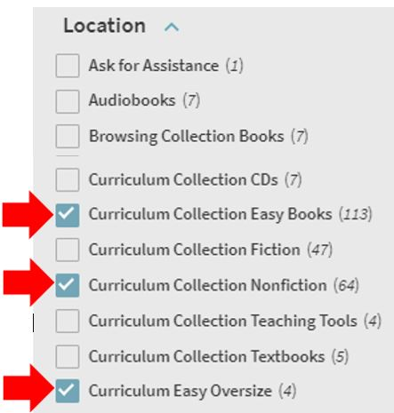 select locations with Curriculum Collections in the name