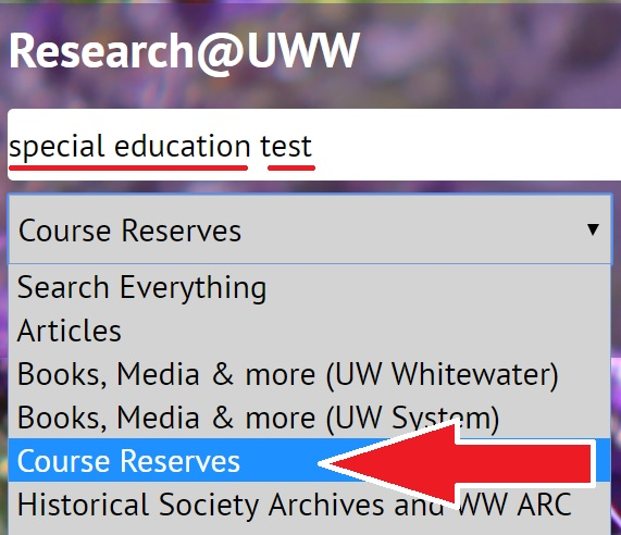 screenshot of search for a Special Education department test on reserves