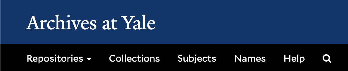 Archives at Yale website header