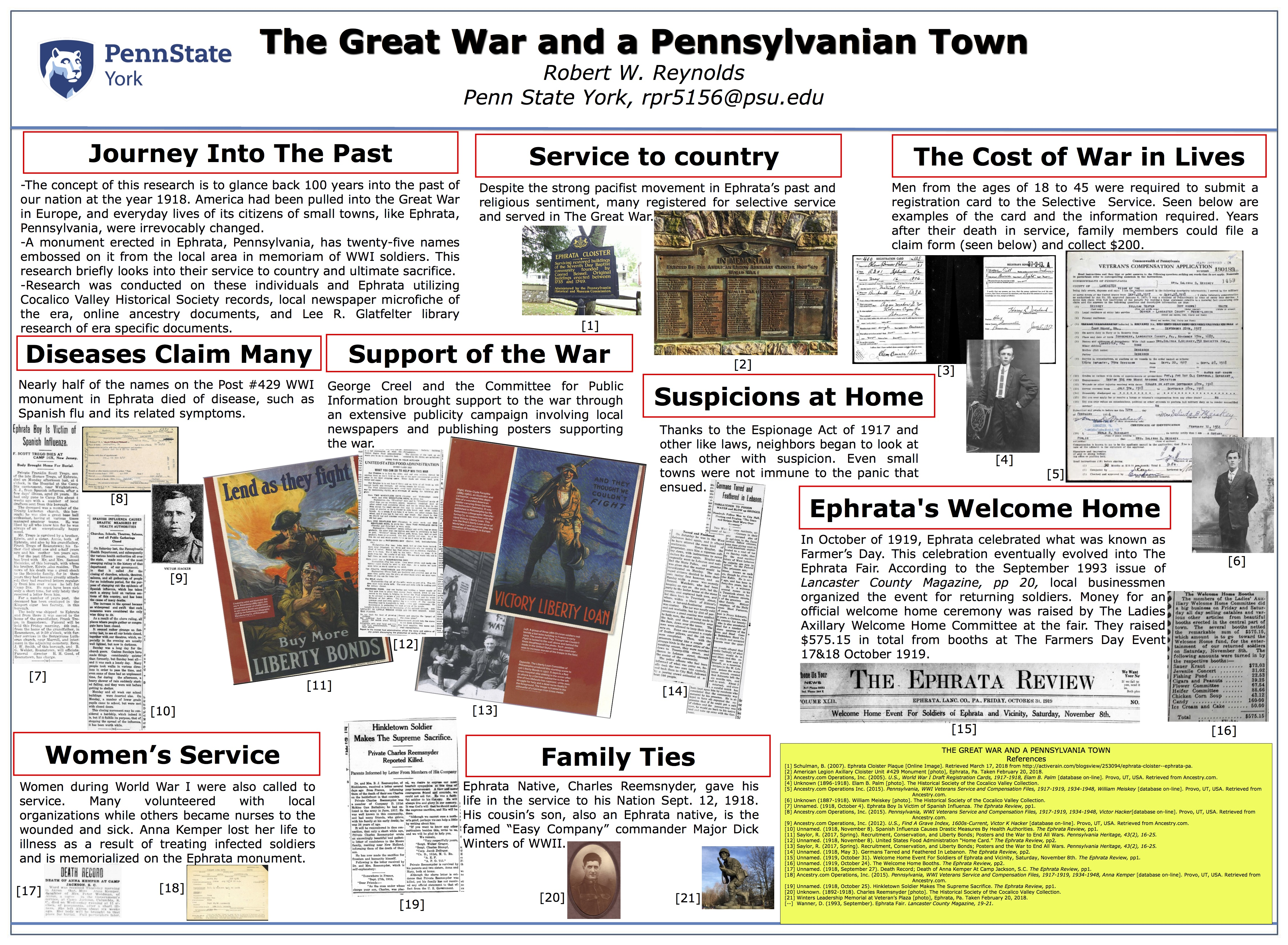 Student research poster of The Great War and a Pennslyvanian Town