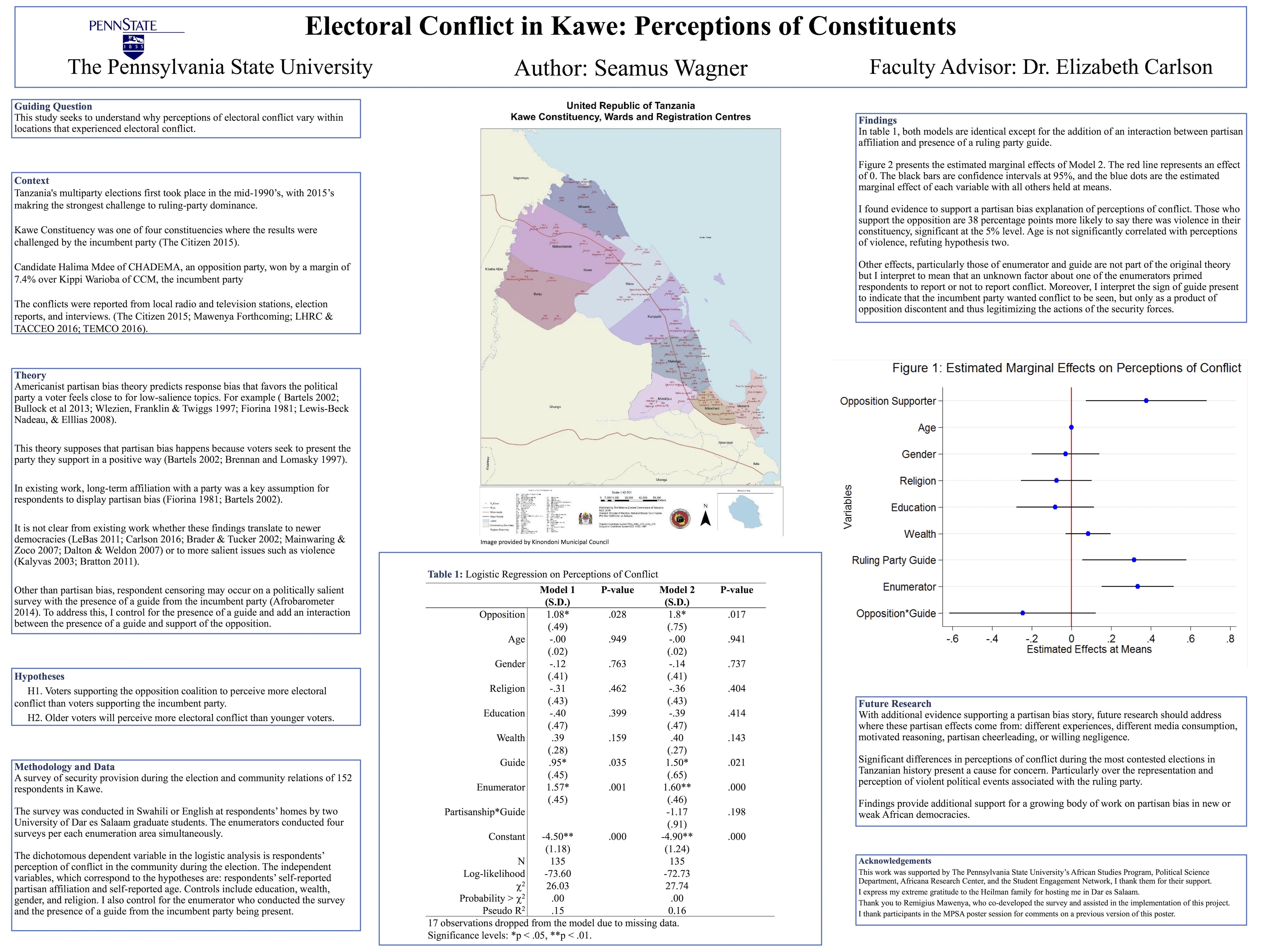 A poster describing the electoral conflict in Kawe
