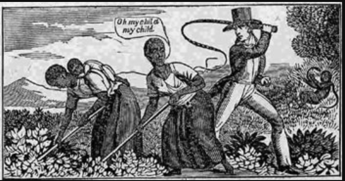 Enslaved Africans threatened with a whip in the fields